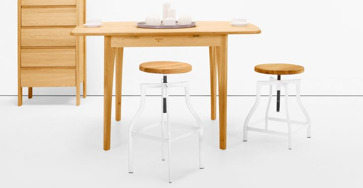 Vale Adjustable Barstool in natural ash and white | made.com