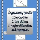 This is a bundle of my Trigonometry, Angles of Elevation and Depression, Law of Sines Notes as well as my Sine-Cosine-Tan Riddle Worksheet!    ****...