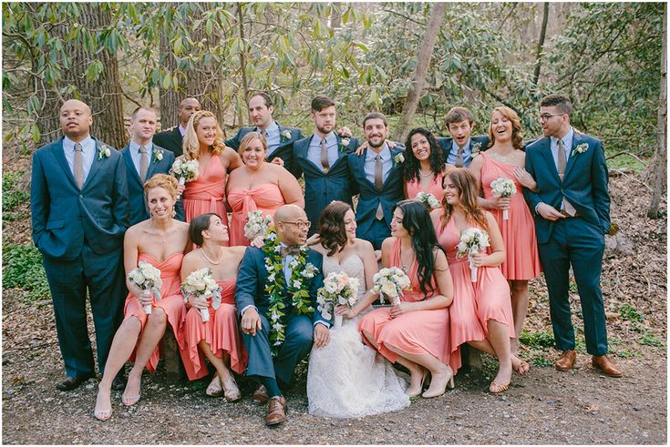 Peach Pink Coral Bridesmaids Emily Delamater Photography
