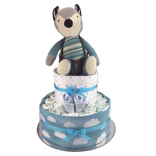 Foxy Boy Nappy Cake - 2 Tier