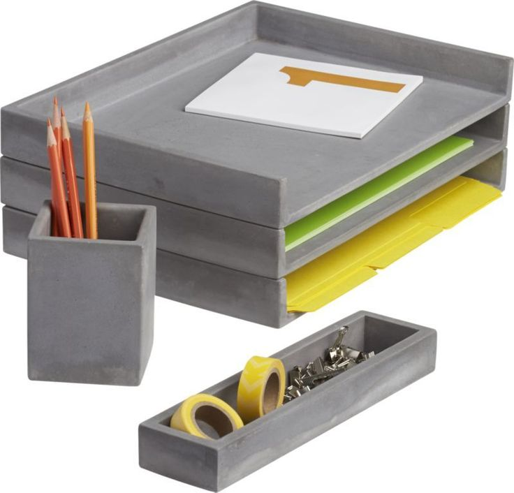 concrete idea.  Letter tray, pencil cup and catchall cement an industrial spot for papers, pens, clutter and office supplies.  Honed smooth in matte grey with natural intonations, concrete works a minimalist architectural touch in the office. 100% concreteEach will be uniqueWipe with clean clothMade in Taiwan.
