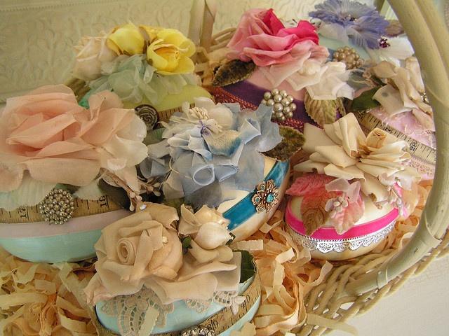 Gorgeous decorated Easter eggs in basket.  #easter #vintage #egg #basket #shabby #chic #pastel #decor