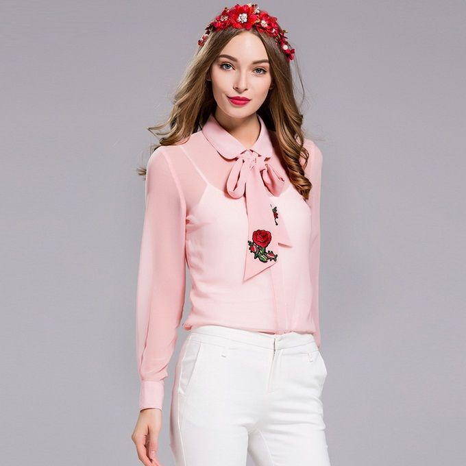 XXXL!Tops Fashion Plus Size Blouses 2017 Spring Women Turn-down Collar Solid Pink  Color Embroidery Bow Tie Pink Blouses Chiffon