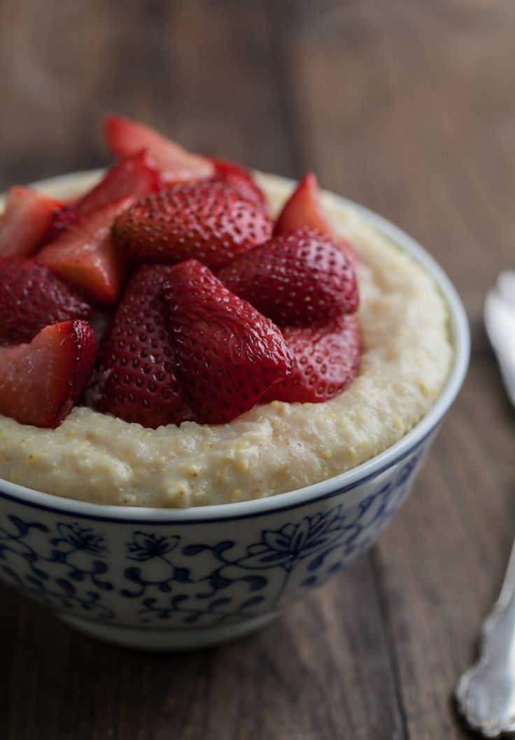Creamy Millet Porridge with Roasted Strawberries | Naturally Ella