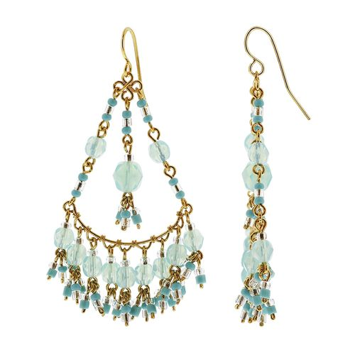 Gold Plated Milky Peridot Color Czech Seed Beads Handmade Chandelier Earrings