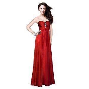 【送料無料】FashionファッションPlazaStraplessBridesmaidFormalEveningCrystalPartyDressD0135(US4,Redレッド赤)レディース\ドレス\ウェディングドレス