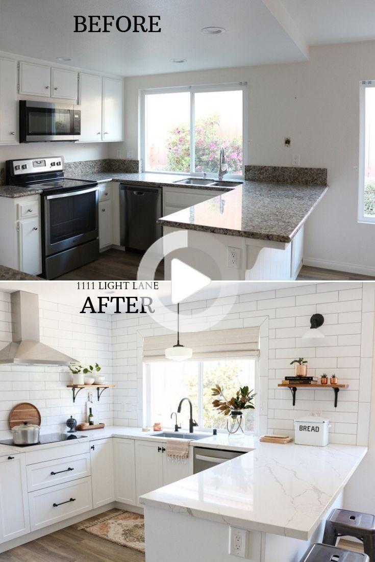 Rénovation de cuisine blanche semi artisanale avant + après ...