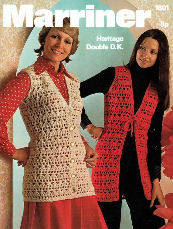 PDF Vintage 1970s Womens Ladies Waistcoat Crochet Pattern