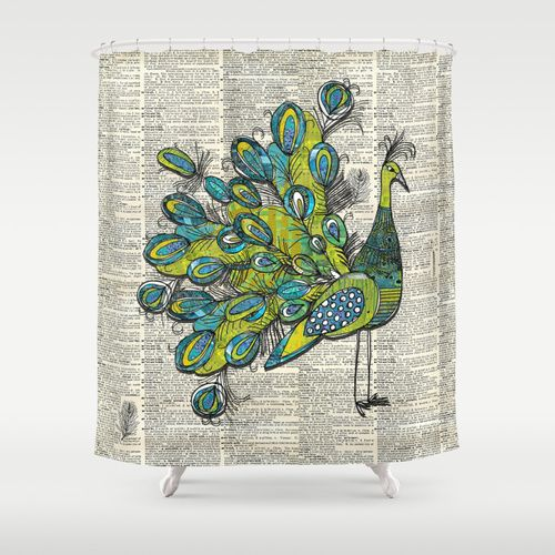 Sketch Peacock Shower Curtain