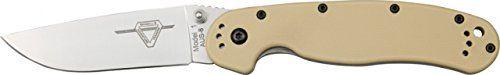 Ontario Knives 8848DT Satin Finish RAT-1 Linerlock Knife with Desert Tan Handles. Open Length 8.5 in (21.6 cm). Closed Length 5 in (12 cm). Blade Length 3.5 in (8.89 cm). Blade Material AUS-8 Satin Finish. Handle Color: Desert Tan Nylon 6.