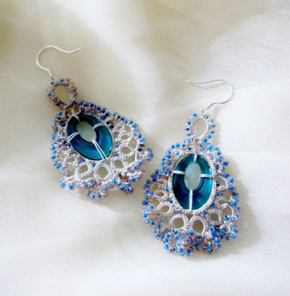 tatting  earrings tatted lace erg109
