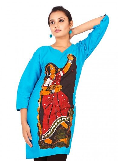 Blue Pure Cotton Kurti with Applique Work and Batik Dyed Motifs | My ...