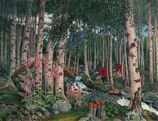 Nikolai Astrup Art Print featuring the painting Foxgloves by Nikolai Astrup