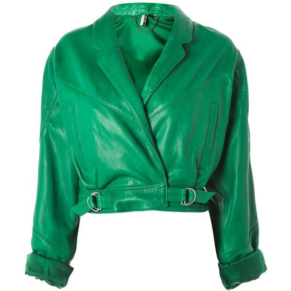 TopShop Cropped Retro Style Leather Biker Jacket (4.800.960 IDR) ❤ liked on Polyvore featuring outerwear, jackets, topshop, green, motorcycle jacket, cropped biker jacket, green jacket, cropped jacket and 80s jackets