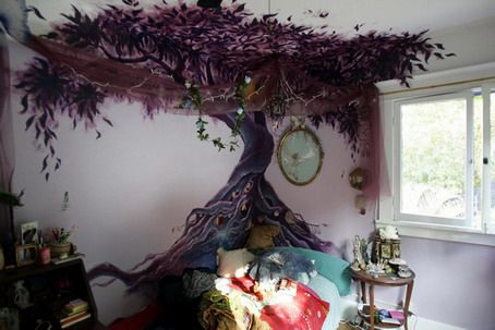 large amazing purple tree wall murals painting in modern bedroom. Black Bedroom Furniture Sets. Home Design Ideas