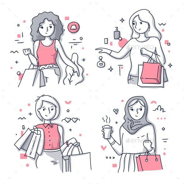 Happy Shopping Women Illustrations Woman Illustration