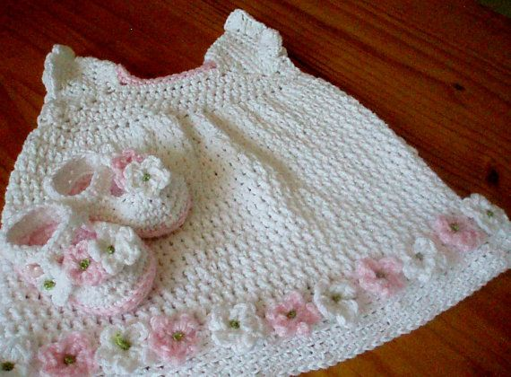 Crochet Pattern Baby Dress and Matching Booty Shoes A couple of cute patterns for sale (boys hat and booties / baby blanket)