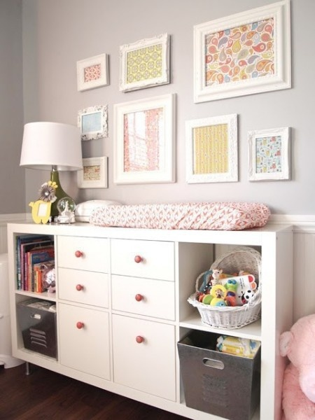 Ikea expidit in white with drawers for books + toys