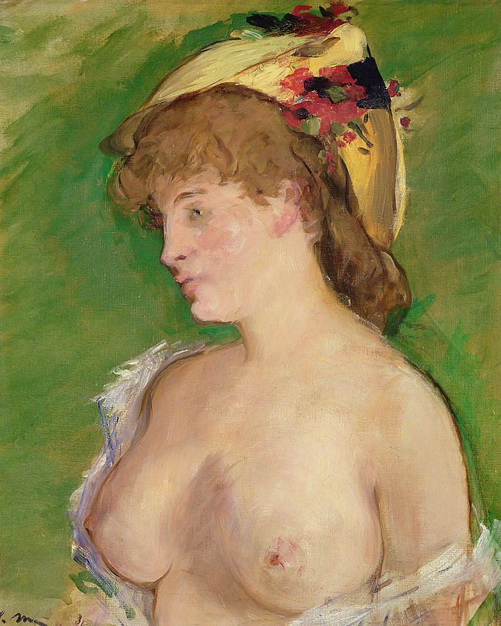 The Blonde With Bare Breasts Painting by Edouard Manet