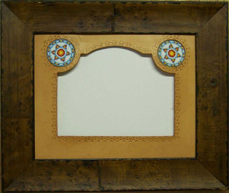 Western Decor Frames: Western Decor Beaded Leather Mat With Frame