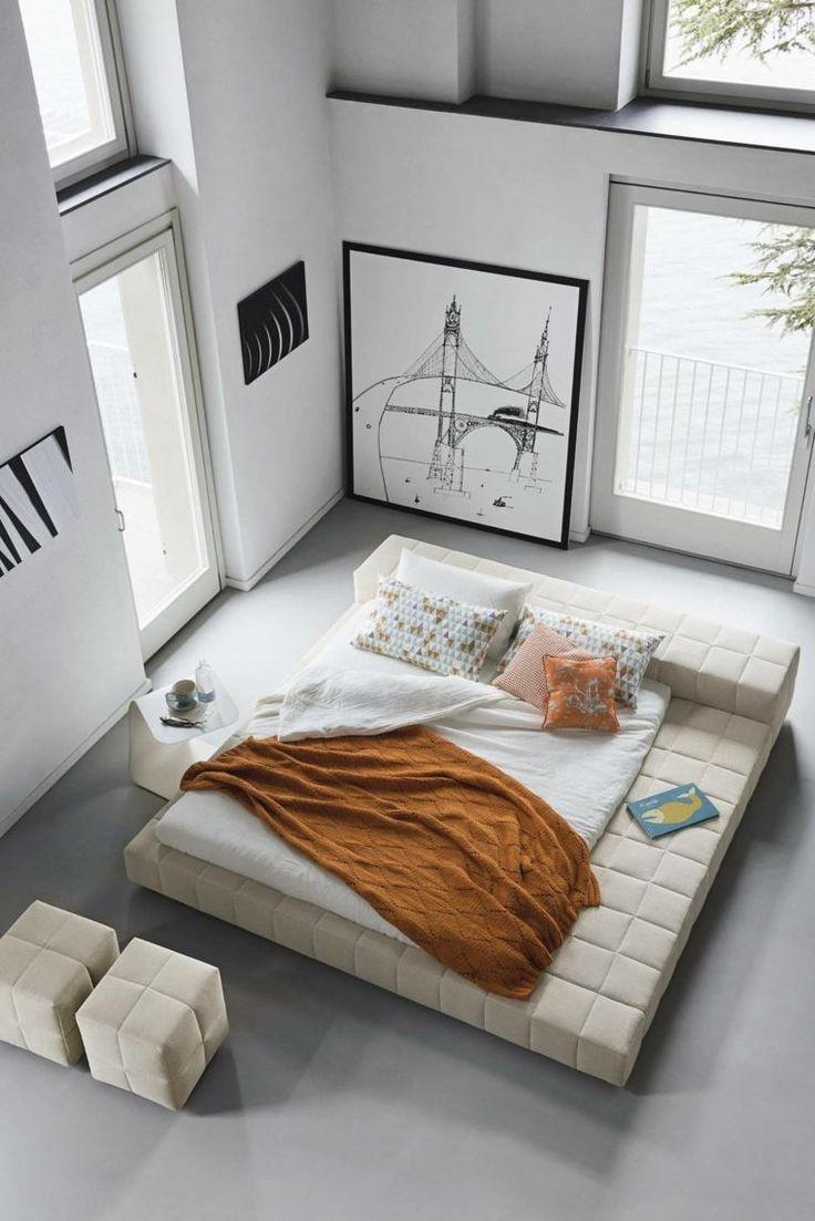 photo de chambre zen et décoration moderne avec lit capitonné