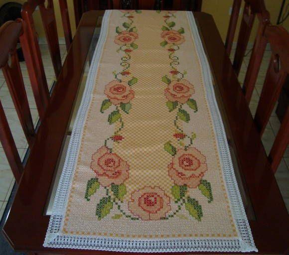 Caminho de mesa em ponto cruz duplo | Handicraft | Elo7