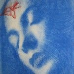 Omar Galliani Blue Oltremare 4 Pastel on paper 37.5 x 28 cm available at 3A The Excellence of Art  in Mauritius