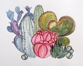 Cactus archival print illustration watercolour painting