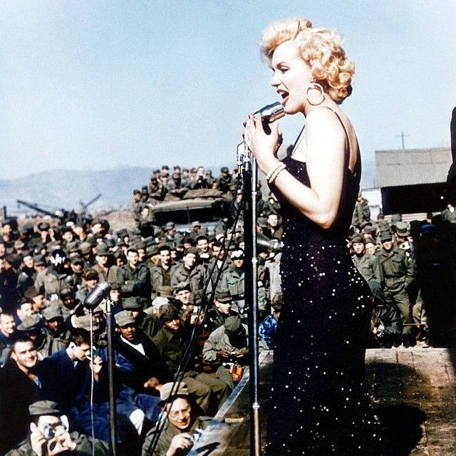 Marilyn performing for troops in Korea, 1954. | Credit to @lizandmarilyn for this beautiful picture.