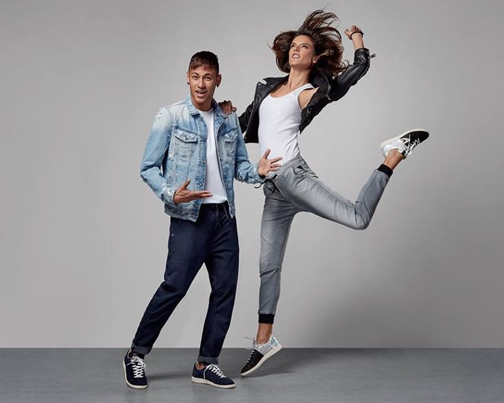 Alessandra Ambrosio poses with Neymar Jr. in Replay Jeans Hyperflex 2016 campaign