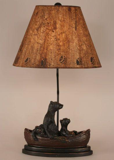 Bears In Canoe Rustic Cabin Decor Table Lamp Black Bear Rustic Decor Pinterest Beautiful