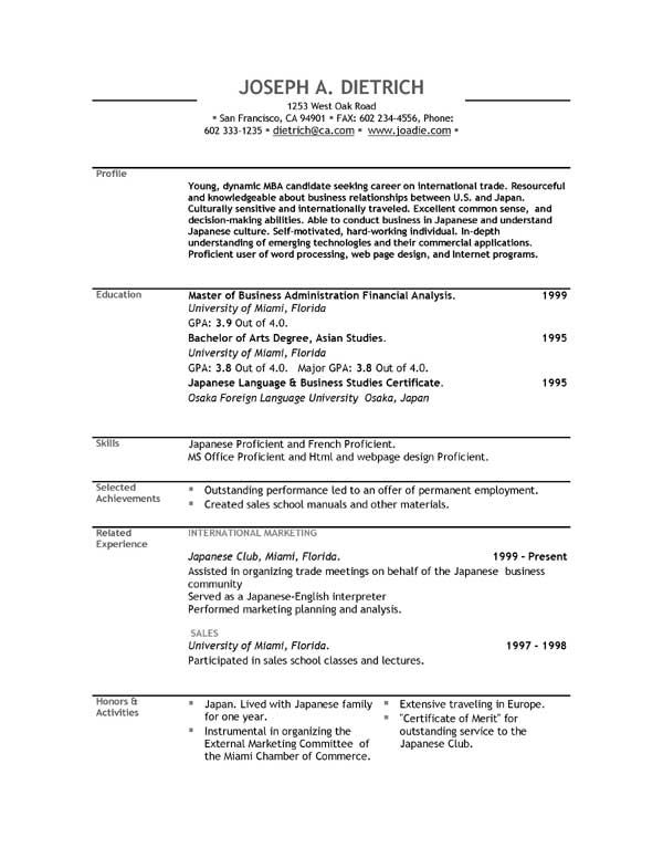 Simple Free Resume Template Resume Example Free Basic Resume