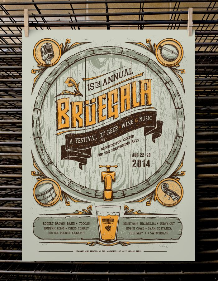 Bruegala Beer and Wine Festival 2014 Event Poster http://www.halfhazardpress.us/shop/product/bruegala-xv-beer-wine-festival/