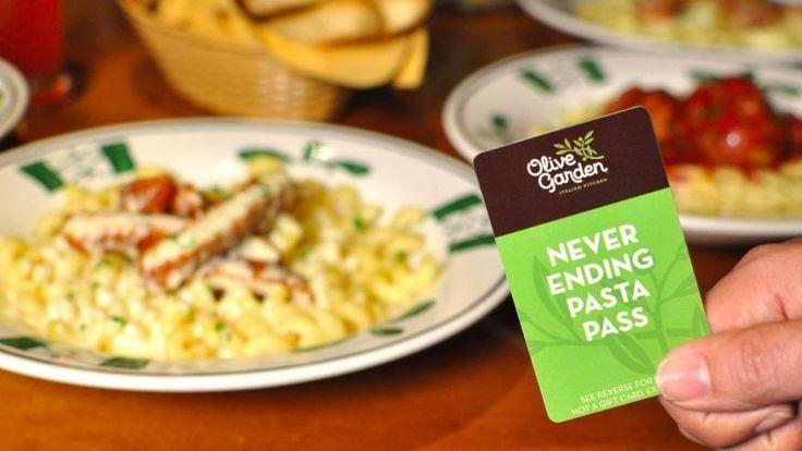 Olive Garden Never Ending Pasta Pass  7 weeks of Pasta!
