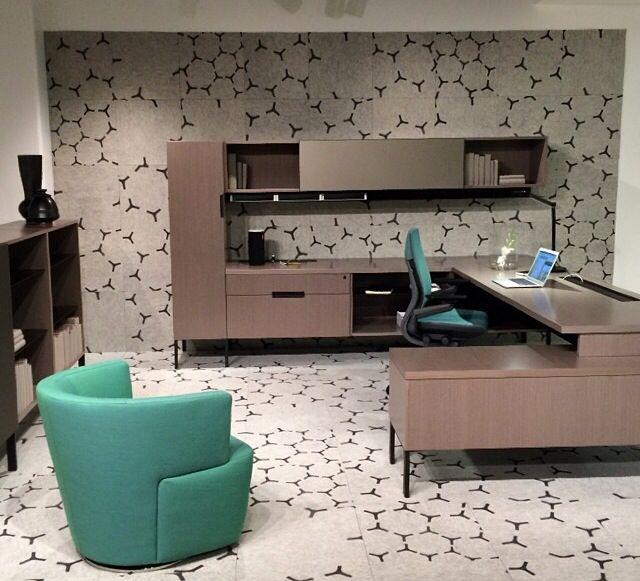 Striking Metal Shelving Design To Increase Your Storage Space: Imaged Floor Tiles - Steelcase NeoCon Showroom. Designtex Pattern Sunburst.