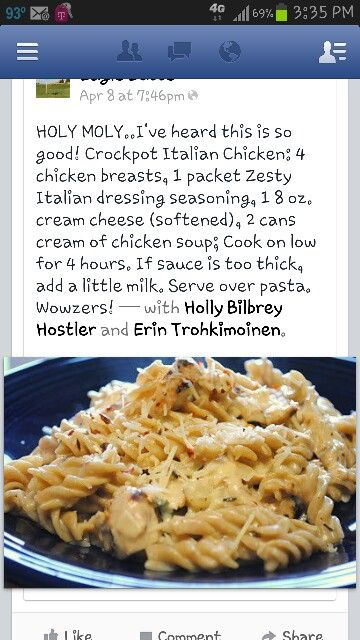 Creamy Italian Chicken - substituted cream of chicken soup for cream of mushroom and added some mushrooms to the crockpot. delicious!