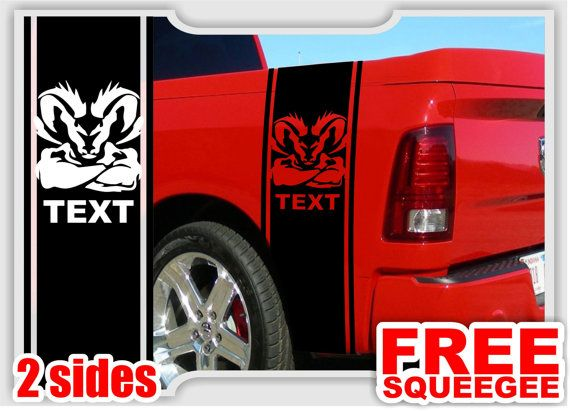 2 Dodge Ram Truck Head with Custom Text Bedside Vinyl Decal Custom Stickers Left/Right