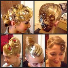Look at all these different types of ballroom hairstyles! Visit http://ballroomguide.com/comp/hair_make_up.html for more hair and makeup info