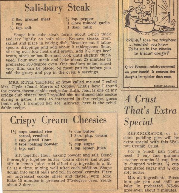 Salisbury Steak...I love how the recipe is seriously only for the steak, then the instructions throw in like 5 more ingredients for the sauce...wacky old timey recipes!!!