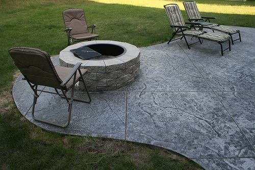 stamped concrete gray black | Seamless Stamped Concrete patio - natural with grey antiquing release ...