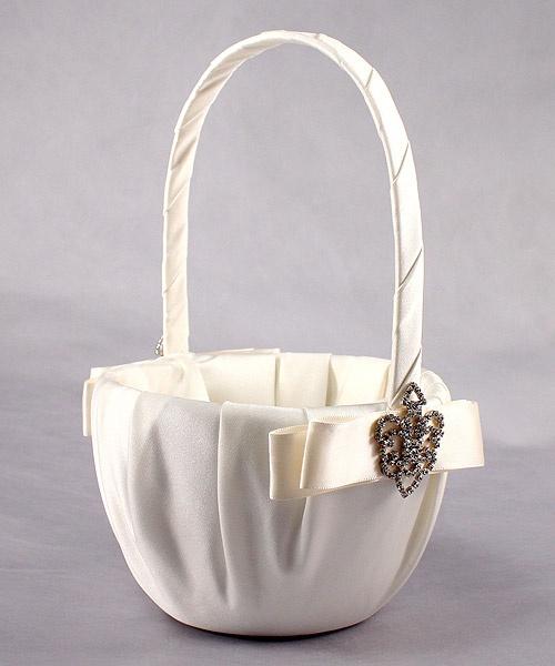 Ivory Wedding Flower Girl Basket - The Crowned Jewel Flower Basket (Black, White, Ivory). Beautiful!