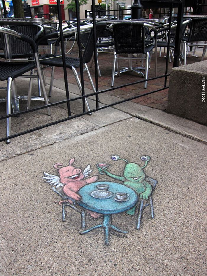 Best David Zinn Chalk Art Images On Pinterest Artists - David zinns 3d chalk art adorably creative