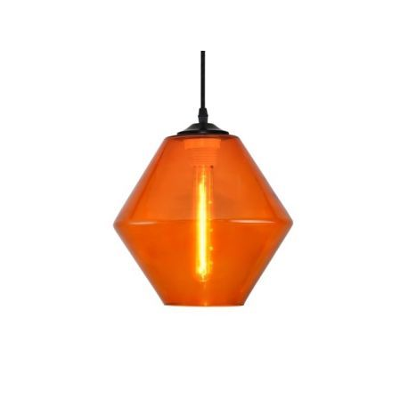Oryginalna lampa wisząca ze szklanym kloszem w kolorze oranż.