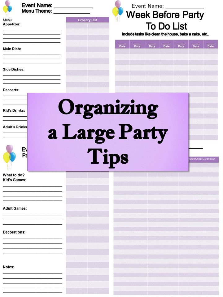 Organizing A Large Party Tips Planning ChecklistEvent