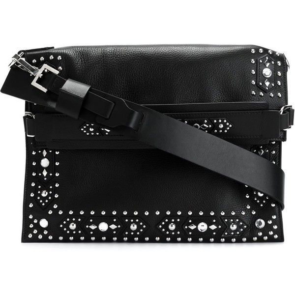 Givenchy 'Show' shoulder bag (17.240 DKK) ❤ liked on Polyvore featuring bags, handbags, shoulder bags, black, givenchy handbags, black shoulder bag, black purse, black handbags and flat purse