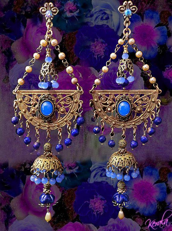 Magical Exotic Blue Opal Tiered Chandelier Earrings East Indian Jhumka Earrings, Periwinkle Blue, Bohemian Gypsy Earrings
