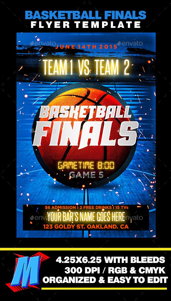 Basketball Finals Flyer Template by MegaKidGFX Basketball Finals Flyer Template *300 DPI *Print Ready *SIZE: 4.256.25 *Organized Folders *RBG