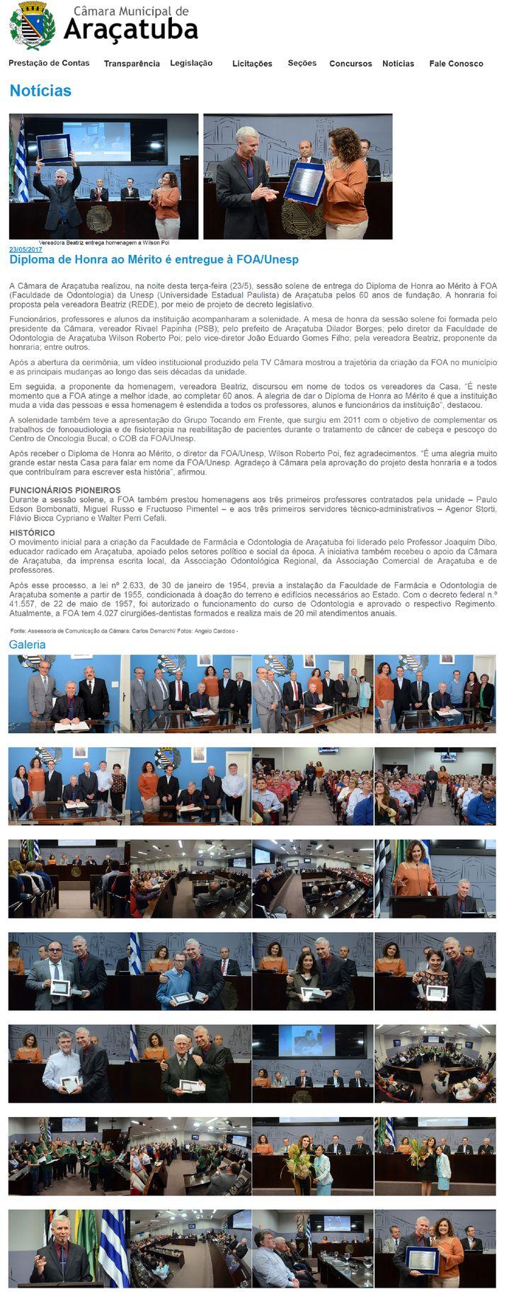 Diploma de Honra ao Mérito é entregue à FOA/Unesp. Fonte: Câmara Municipal de Araçatuba