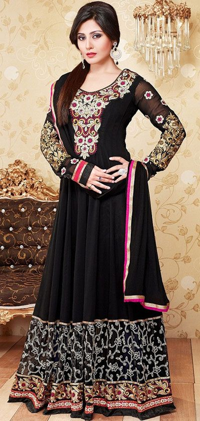 USD 35.96 Black Georgette Floor Length Anarkali Salwar Kameez 43160