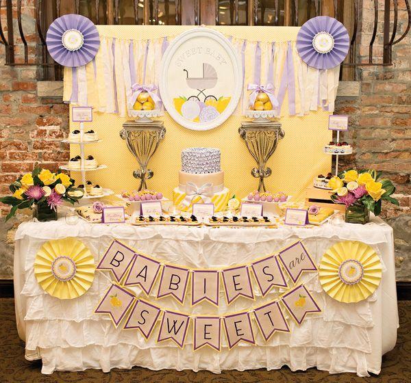 A Gorgeous Lemon & Lavender Baby Shower Dessert Table via Hostess With the Mostess